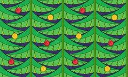 与圣诞树的葡萄酒无缝的样式 免版税库存照片