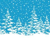 与圣诞树的风景 库存例证