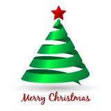与圣诞树的贺卡 库存照片