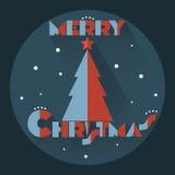 与圣诞树的贴纸 库存照片