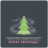 与圣诞树的Minimalistic平的设计圣诞快乐e卡片 免版税库存照片