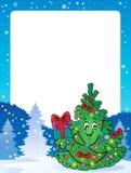 与圣诞树题目1的框架 免版税图库摄影