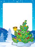 与圣诞树题目2的框架 库存图片