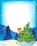 与圣诞树题目3的框架 免版税库存照片