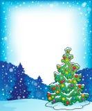 与圣诞树题目4的框架 免版税库存照片