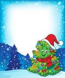 与圣诞树题目5的框架 免版税库存照片