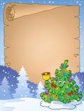 与圣诞树题目2的羊皮纸 库存照片