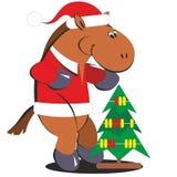 与圣诞树010的动画片马 库存例证