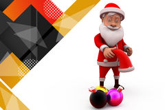 与圣诞灯例证的3d圣诞老人 免版税图库摄影