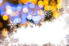 与圣诞灯的五颜六色的背景在bokeh 库存照片