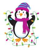 与圣诞灯的企鹅 库存照片