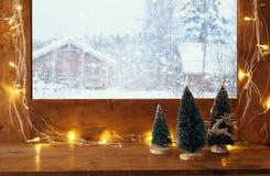 与圣诞灯的窗口基石在冬天风景前面 免版税库存图片