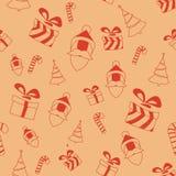 与圣诞老人、礼物盒和树的无缝的减速火箭的样式 免版税库存照片