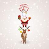 与圣诞老人、驯鹿和雪人的圣诞树 库存照片