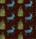 与圣诞老人、鹿、丝带、响铃和树的圣诞节水彩美好的无缝的样式 皇族释放例证