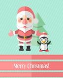 与圣诞老人和企鹅的圣诞卡 免版税库存照片
