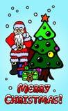 与圣诞老人和圣诞树的艺术 免版税库存照片