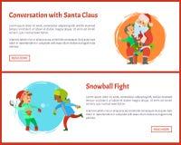 与圣诞老人和打雪仗传染媒介的交谈 库存例证