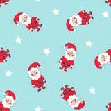 与圣诞老人和星的无缝的圣诞节样式在圆点背景 免版税库存照片
