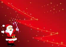 与圣诞老人和树的圣诞节背景 免版税库存照片