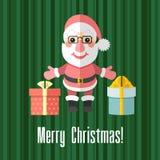 与圣诞老人和礼物的圣诞卡 免版税图库摄影