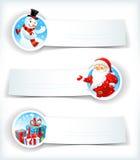 与圣诞老人和雪人的圣诞节横幅 库存照片