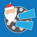与圣诞老人和雪花的圣诞卡模板 库存照片