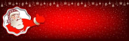 与圣诞老人和雪花的圣诞节红色背景 免版税库存照片