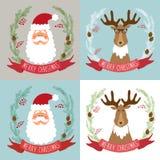 与圣诞老人和驯鹿滑稽的漫画人物的逗人喜爱的减速火箭的圣诞卡  免版税库存照片