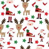 与圣诞老人和驯鹿的无缝的模式 库存照片