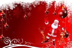 与圣诞老人和驯鹿的红色圣诞节背景 免版税库存图片