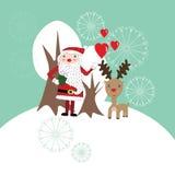 与圣诞老人和驯鹿的逗人喜爱的圣诞卡 免版税库存图片
