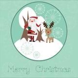 与圣诞老人和驯鹿的逗人喜爱的圣诞卡 免版税图库摄影