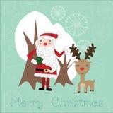 与圣诞老人和驯鹿的逗人喜爱的圣诞卡 免版税库存照片