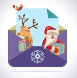 与圣诞老人和鹿的圣诞节信封 免版税库存图片