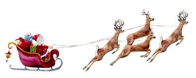 与圣诞老人和鹿的水彩例证 与礼物袋子和箱子的手画圣诞老人在驯鹿拉扯的雪橇乘坐 向量例证