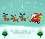 与圣诞老人和他的驯鹿的圣诞卡 免版税库存图片