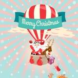 与圣诞老人和他的d的欢乐圣诞快乐贺卡 免版税库存照片