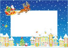 与圣诞老人圣诞节爬犁的边界  免版税库存照片