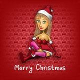 与圣诞老人女孩的葡萄酒红色圣诞节背景 免版税库存照片