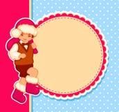 与圣诞老人少年的传染媒介卡片 库存图片