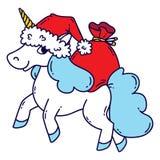 与圣诞老人帽子和袋子的圣诞节独角兽礼物 库存例证