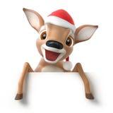 与圣诞老人帽子的一点动画片鹿 免版税库存图片