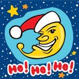 与圣诞老人帽子的可笑的圣诞节月亮 免版税库存照片