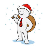 与圣诞老人帽子的商人 免版税库存图片