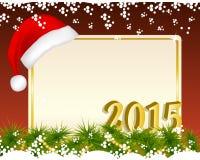 与圣诞老人帽子的圣诞节背景 免版税库存图片