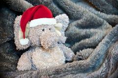 与圣诞老人帽子的蓬松填充动物玩偶 免版税库存照片