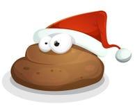与圣诞老人帽子的滑稽的粪 免版税库存图片