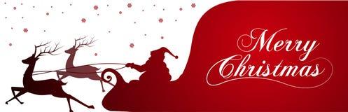 与圣诞老人的充分剪影和袋子在冬天背景的礼物 动画片场面 圣诞快乐字法  免版税库存照片