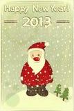 与圣诞老人的圣诞卡 免版税库存照片